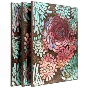 Wall Art Triptych Painting of Dahlias in Peach, Teal, Purple | Large – Extra Large
