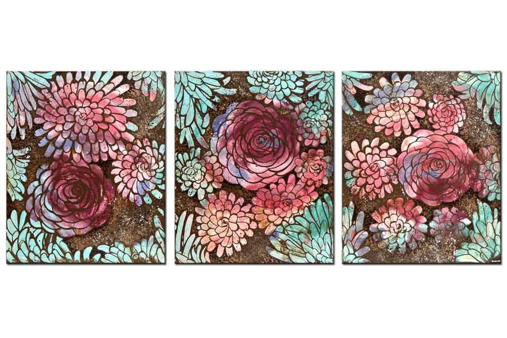 Wall art peach, teal, and purple dahlias