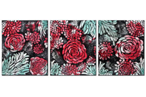 Wall art red and teal dahlias