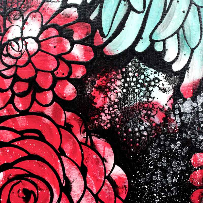 Center view of wall art red and teal dahlias