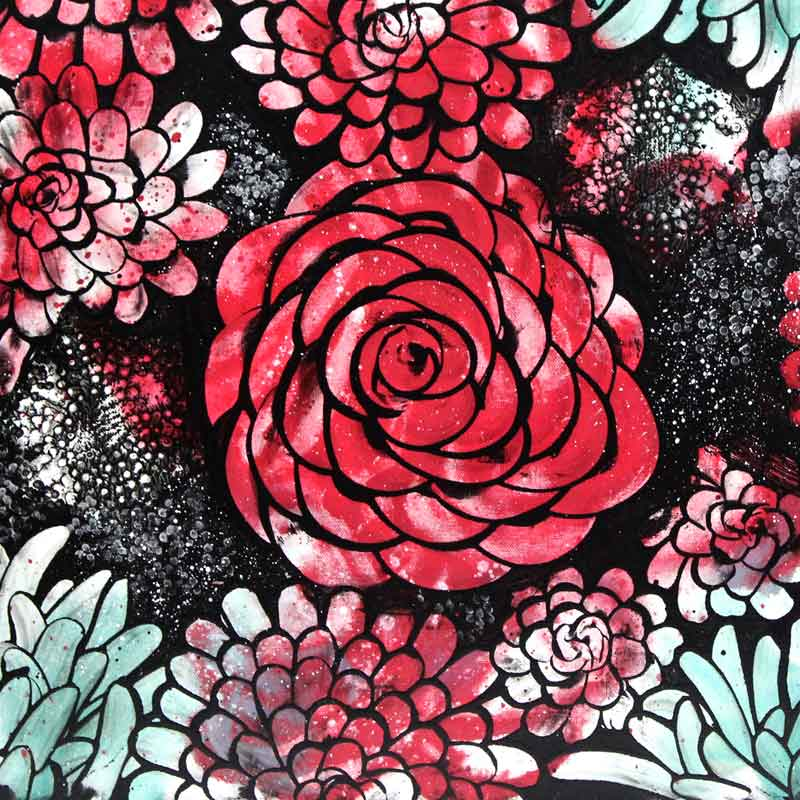 Close up of wall art red and teal dahlias