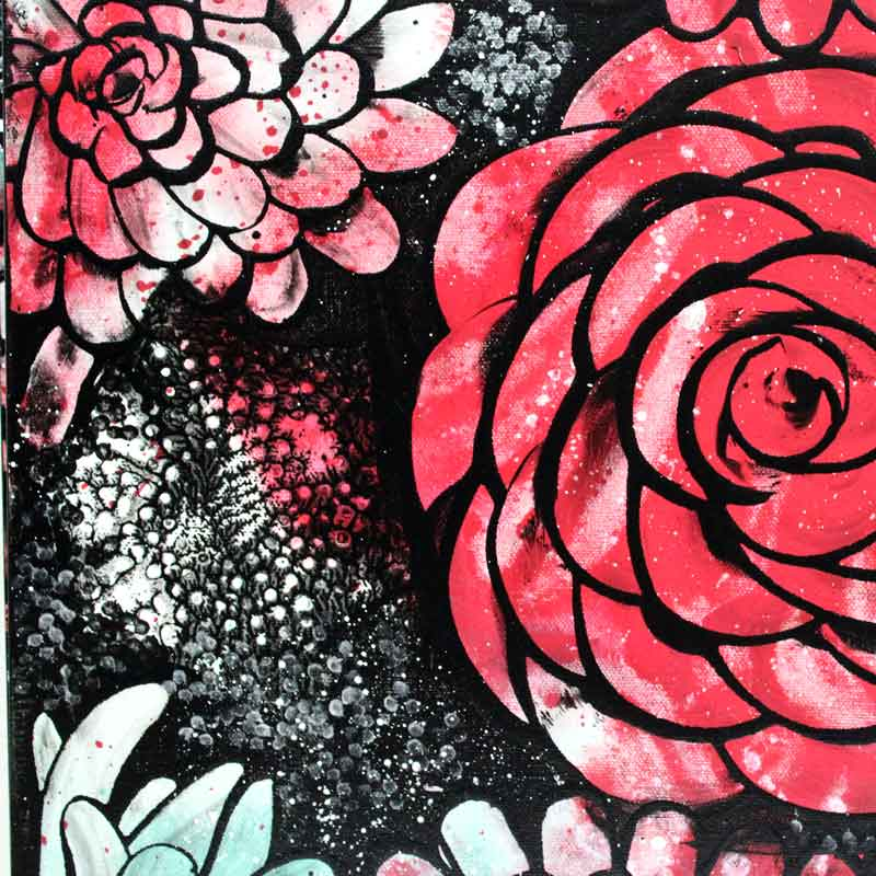 Details on wall art red and teal dahlias