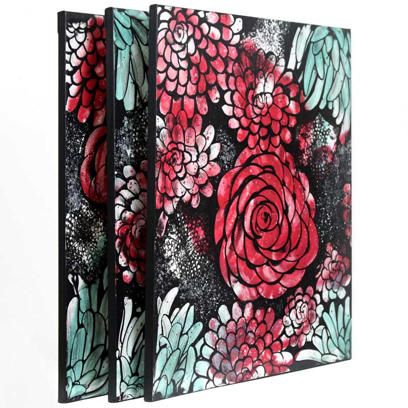 Side view of wall art red and teal dahlias
