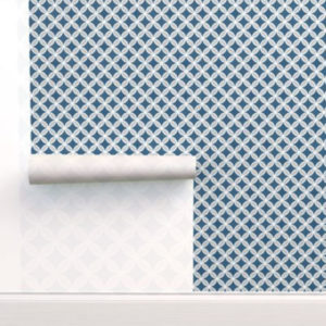 Fabric & Wallpaper: Butterfly Lattice in Blue, Gray