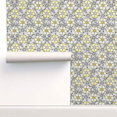 Wallpaper in gray and yellow flowers