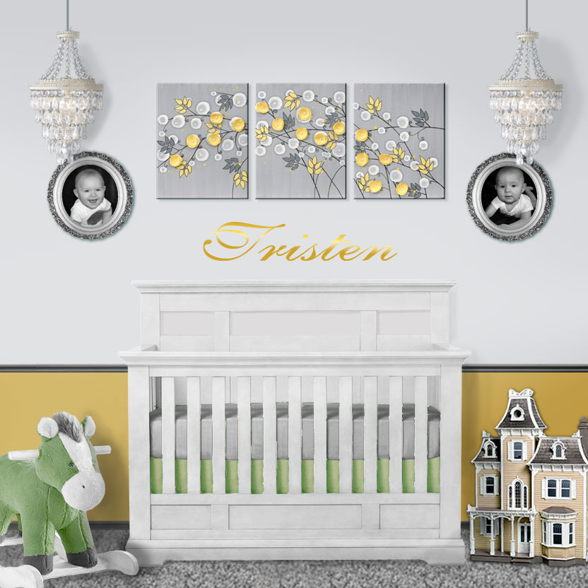 Setting for nursery art yellow and gray flower triptych