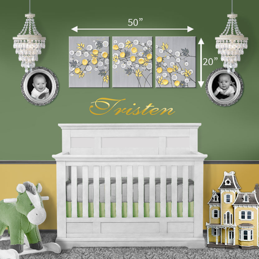 Size guide for nursery art yellow and gray flower triptych