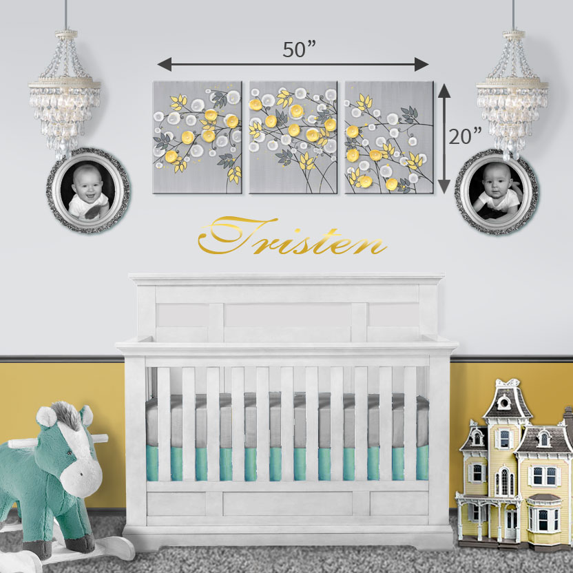 Size guide for yellow and gray art above a crib