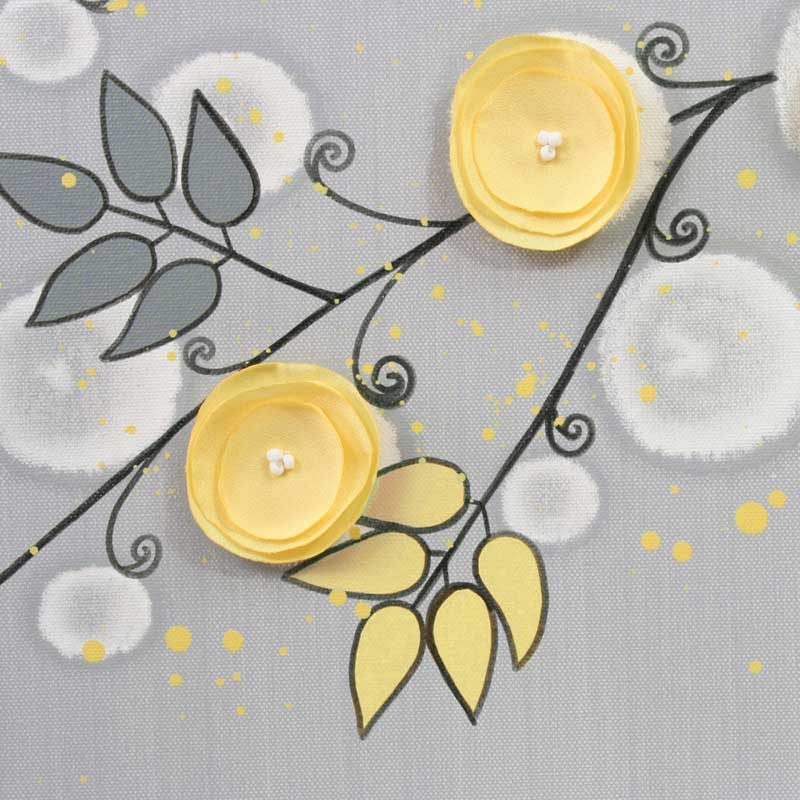 Details of nursery art triptych gray yellow flower