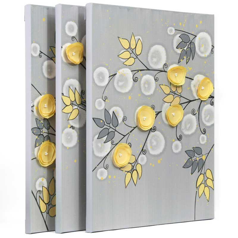 Side view of nursery art triptych gray yellow flower