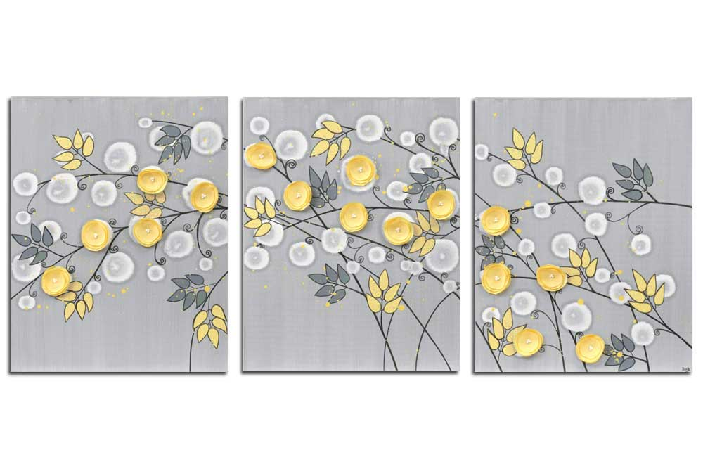 Nursery art triptych gray yellow flower