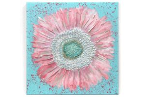 Nursery art pink and aqua zinnia flower