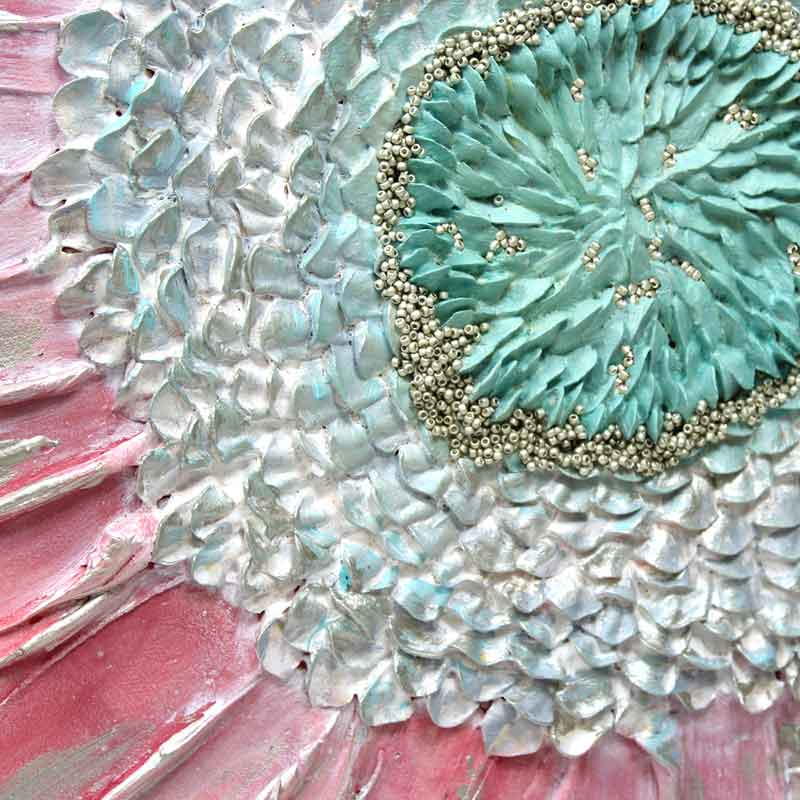 Close up of nursery art pink and aqua zinnia flower