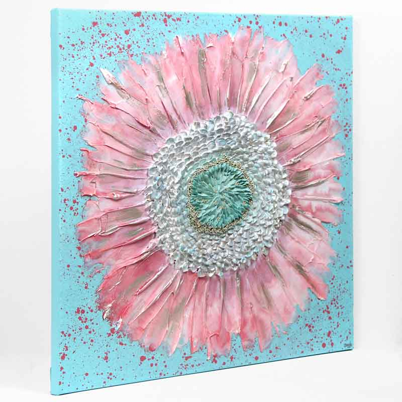 Side view of nursery art pink and aqua zinnia flower