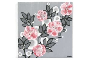 Small nursery art pearl and crystal roses in gray and pink