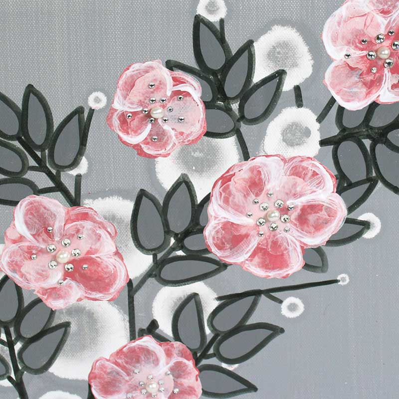 Center view of small nursery art pearl and crystal roses in gray and pink