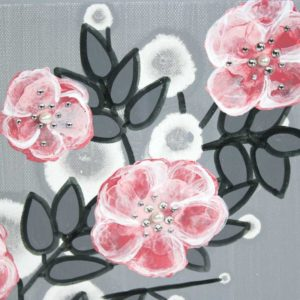 Girl Nursery Art, Wild Rose Painting in Pink and Gray – Small