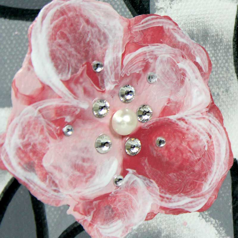 Details of small nursery art pearl and crystal roses in gray and pink