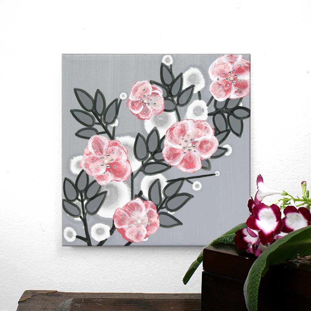 Setting of small nursery art pearl and crystal roses in gray and pink