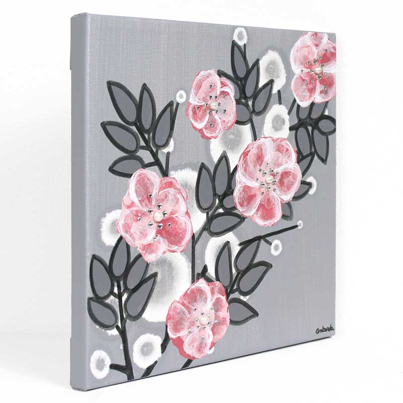 Side view of small nursery art pearl and crystal roses in gray and pink
