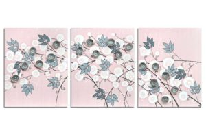 Nursery wall art of pink and gray climbing flowers