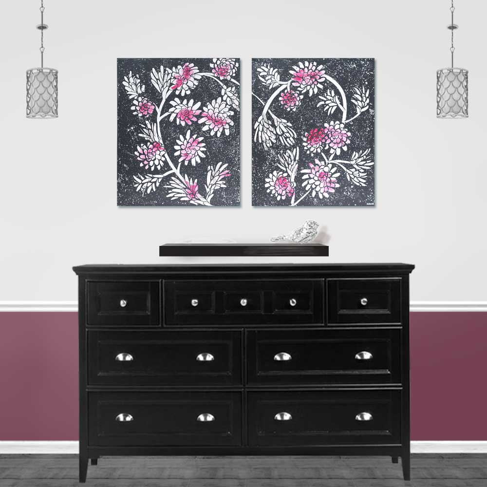 Setting for painting of fuchsia and charcoal floral heart