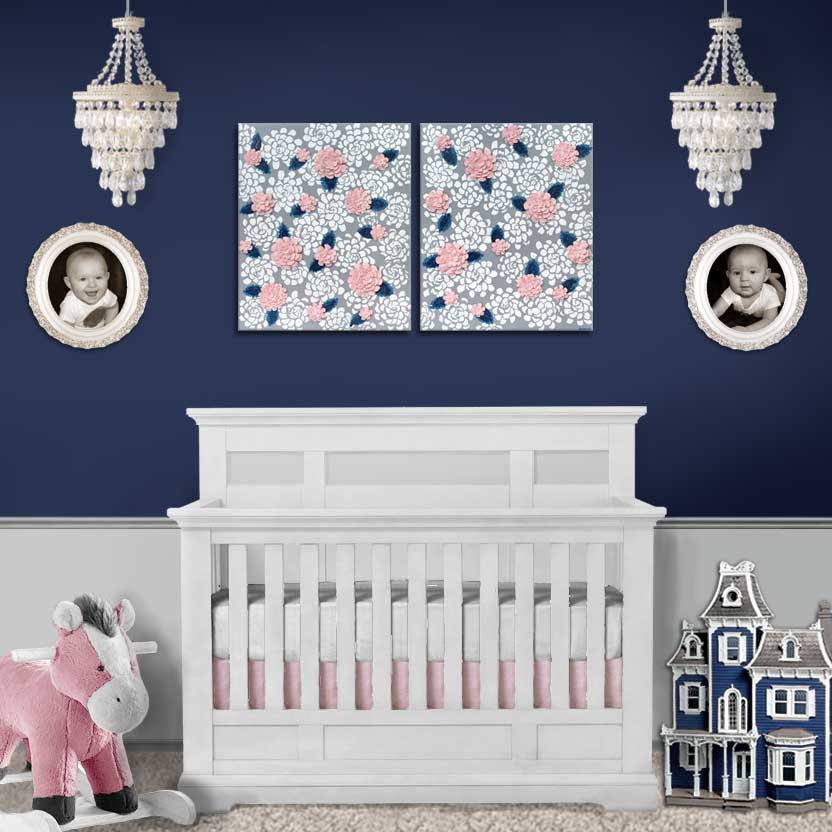 Setting of nursery art of gray, indigo, and pink dahlia flowers