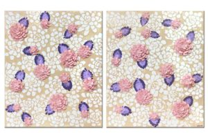Nursery art of pink and purple dahlia flowers