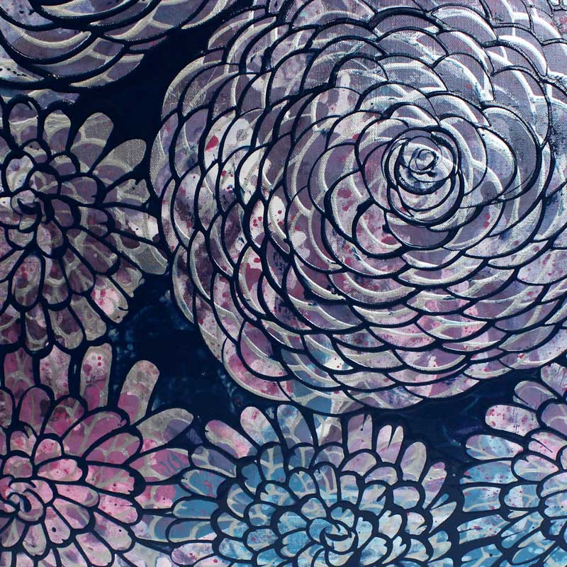 Center view of painting of blue, purple, silver, dahlias