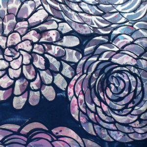 Painting Canvas Art Set of 2 Dahlia Flowers in Blue, Purple – Large