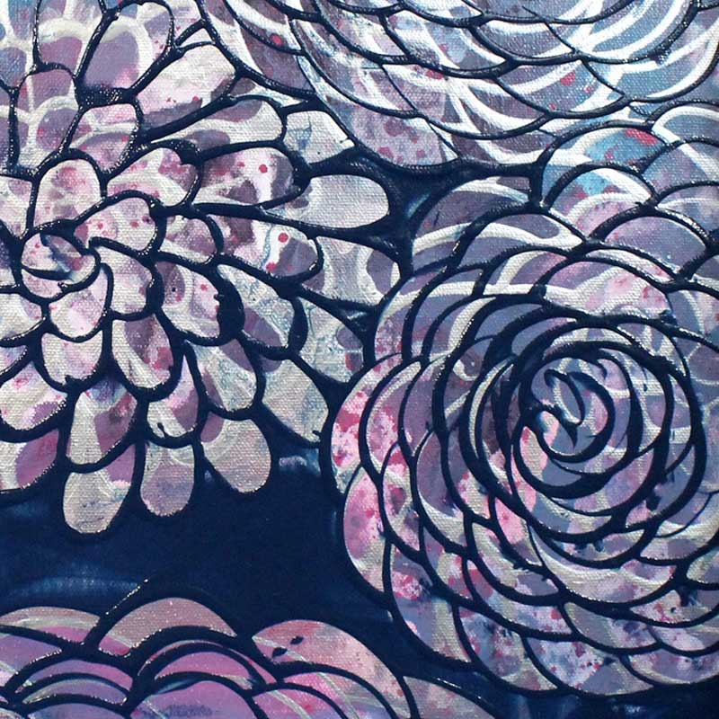 Details of painting of blue, purple, silver, dahlias
