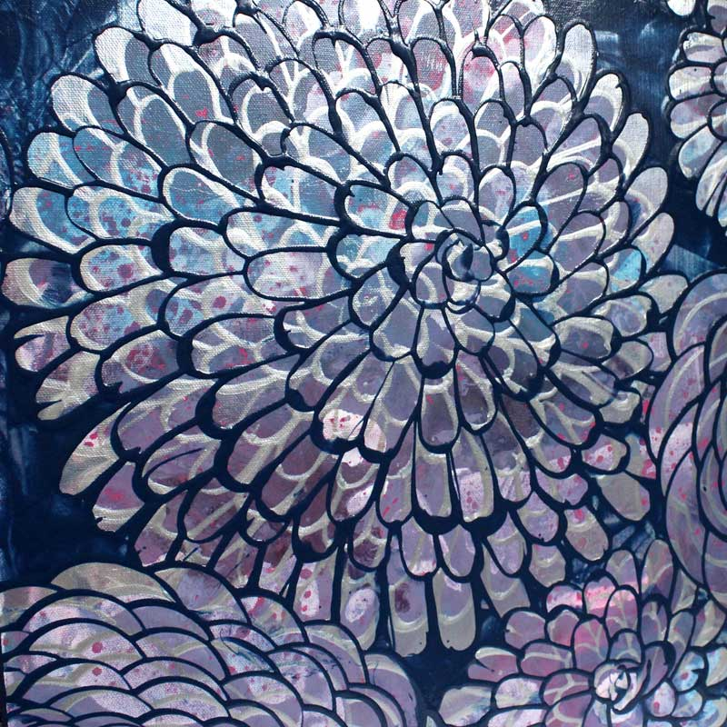 Metallic accents on painting of blue, purple, silver, dahlias