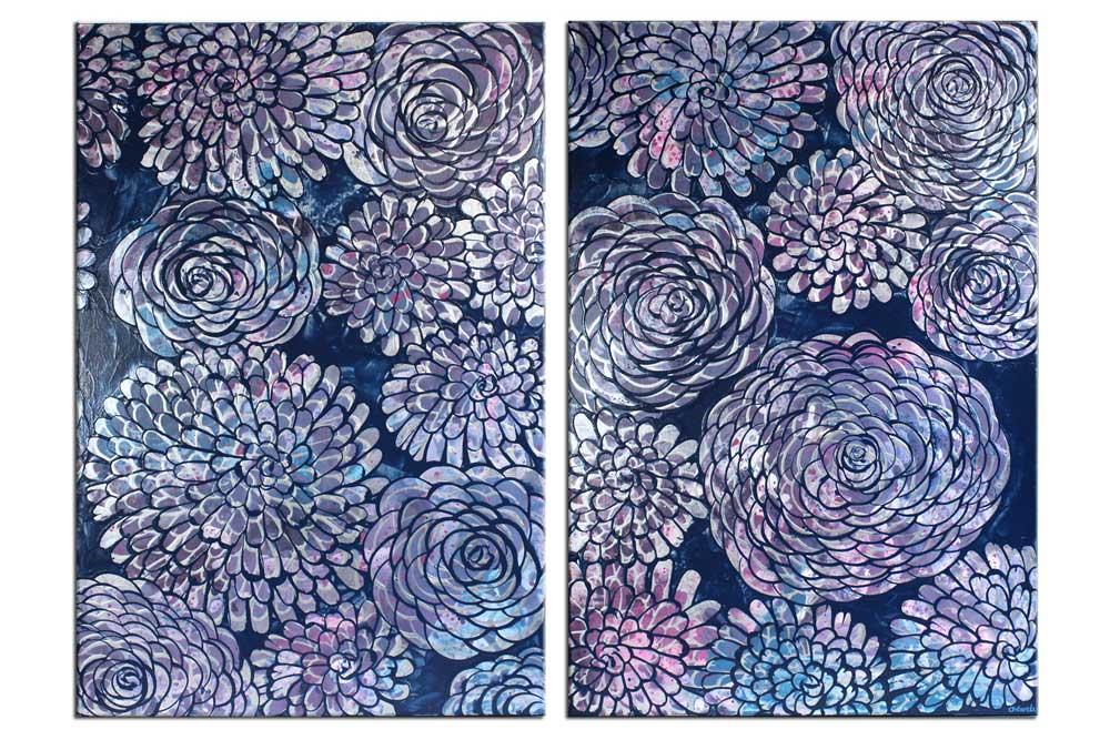 Painting of blue, purple, silver, dahlias