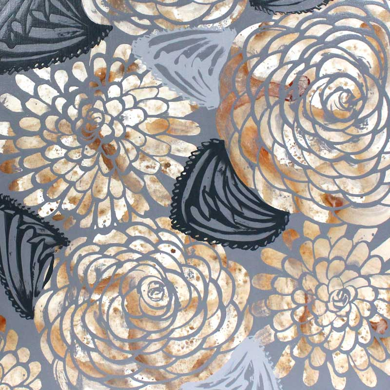Center view of painting of brown and gray dahlias