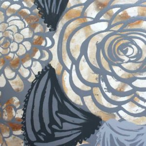 Set of 2 Dahlia Flower Canvas Paintings in Brown, Gray – Large