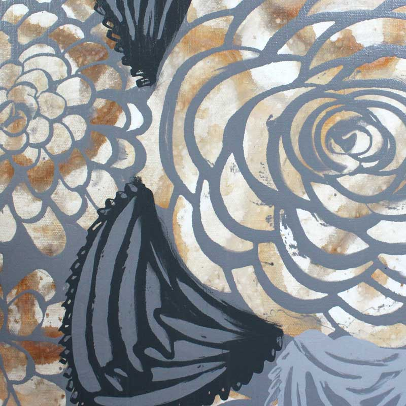 Leaf on painting of brown and gray dahlias