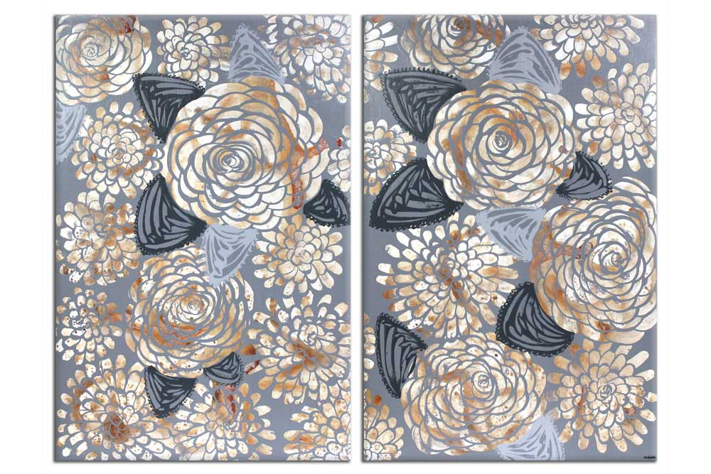 Painting of brown and gray dahlias