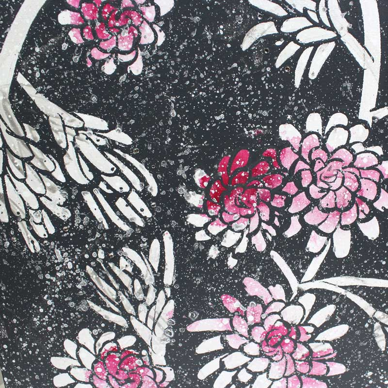 Center view of painting of fuchsia and charcoal floral heart