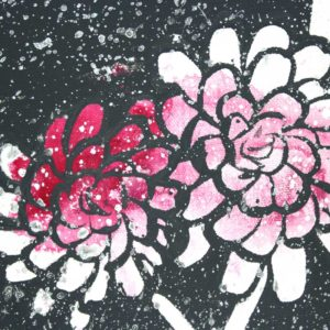 Set of 2 Dahlia Flower Canvas Paintings in Pink, Gray – Large