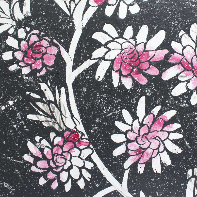 Details of painting of fuchsia and charcoal floral heart