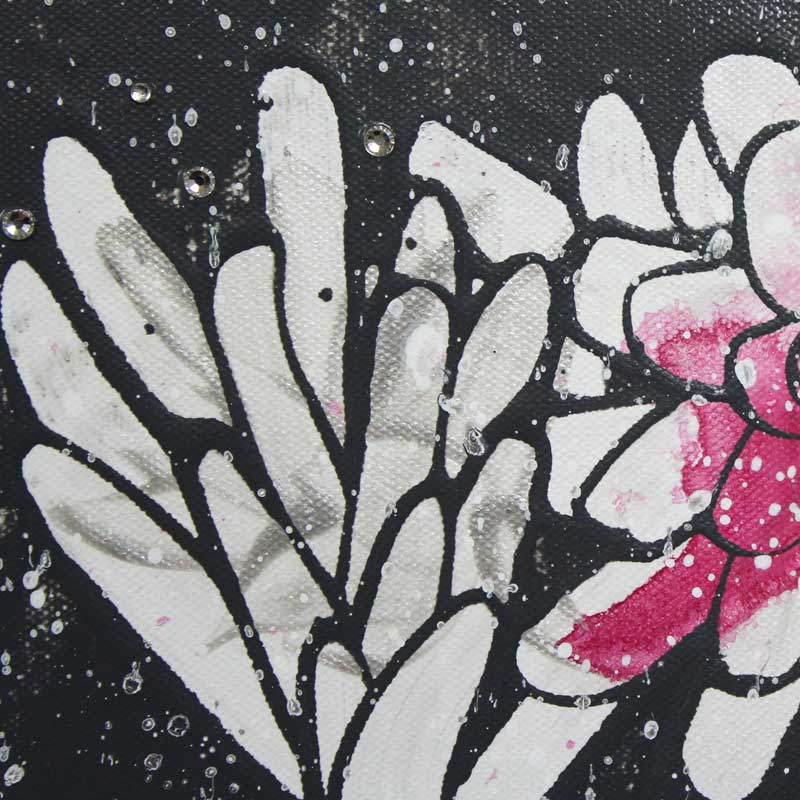 Sparkle on painting of fuchsia and charcoal floral heart
