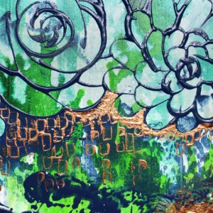 Original Painting on Canvas, Maximalism Art in Blue, Green, Teal