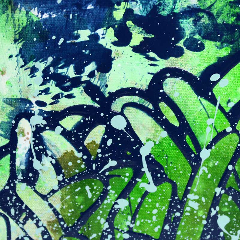Expressionist details on painting green and copper floral dahlias