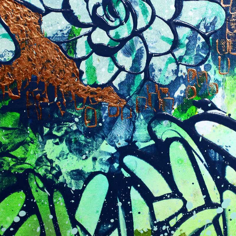 Metallic details on painting green and copper floral dahlias