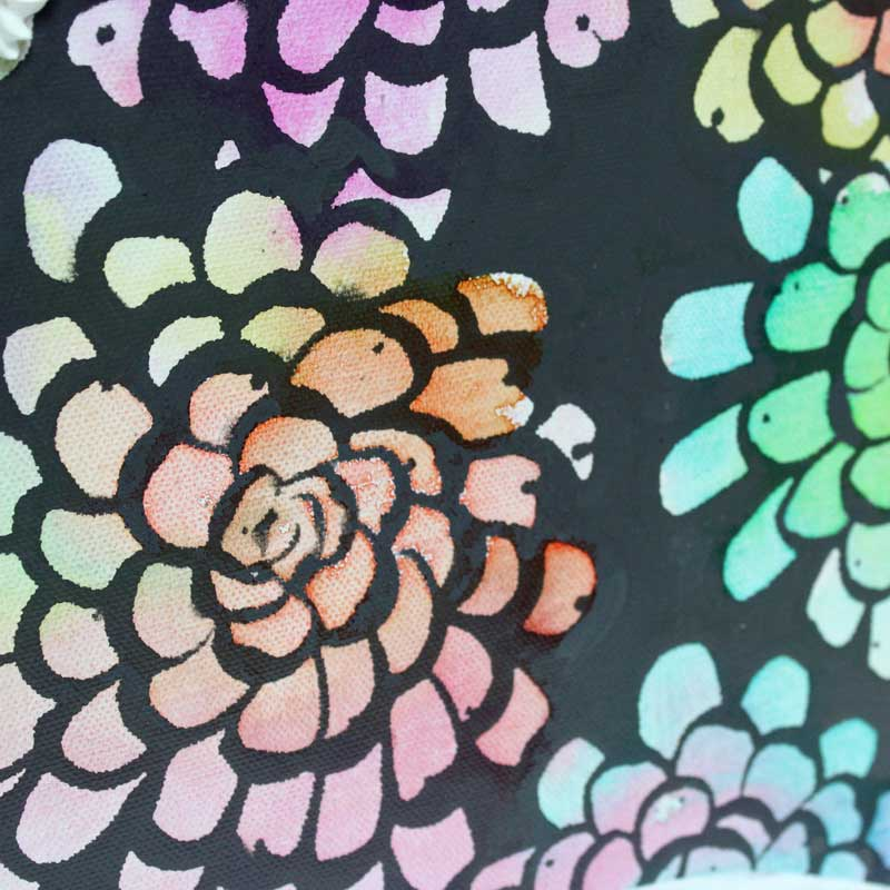 Dahlia close up of wall art of silver unicorn of colorful dahlias