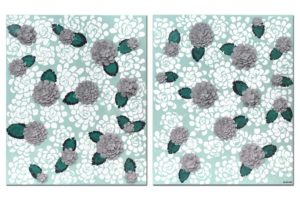 Wall art of teal and gray dahlia flowers