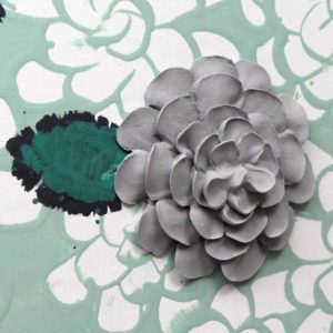 Dahlia Flower Set of Two Canvas Paintings, Gray, Teal – Large