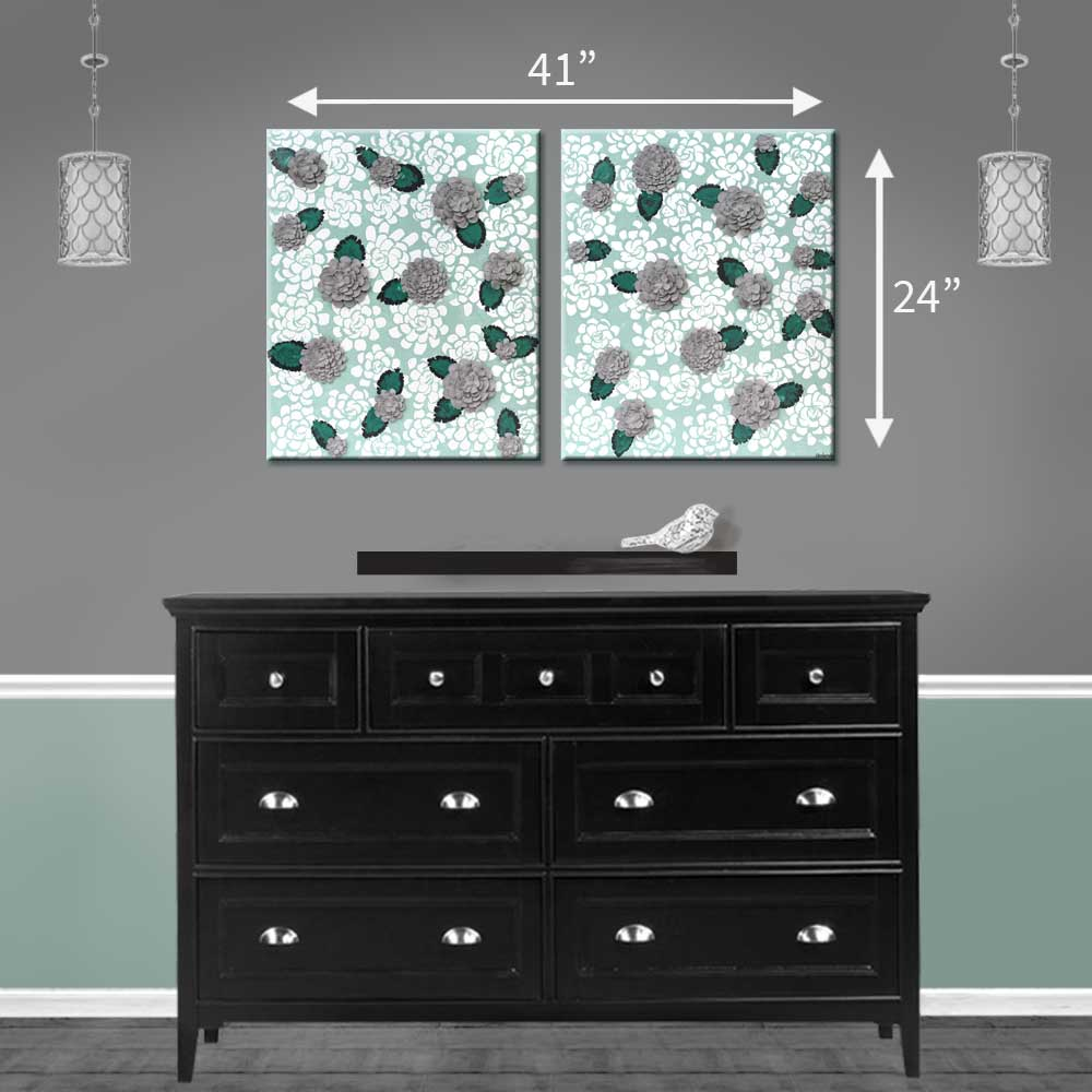 Size guide for wall art of teal and gray dahlia flowers