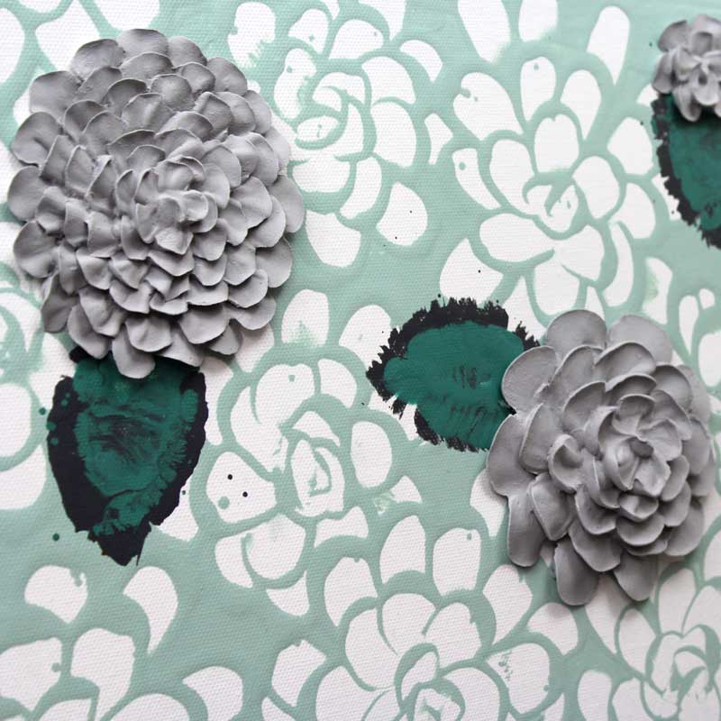 Textured flowers on wall art of teal and gray dahlia flowers