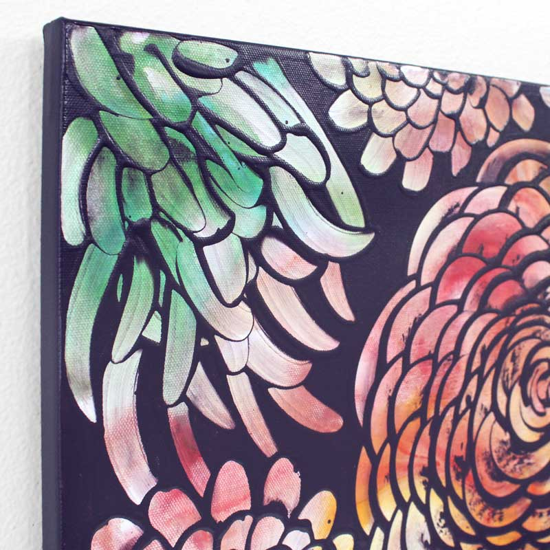Angle view of wall art of tropical dahlia flowers
